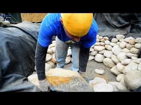 How to build a Fish Pond - Part 8 | Pond Construction Rock Placement (1 of 2)
